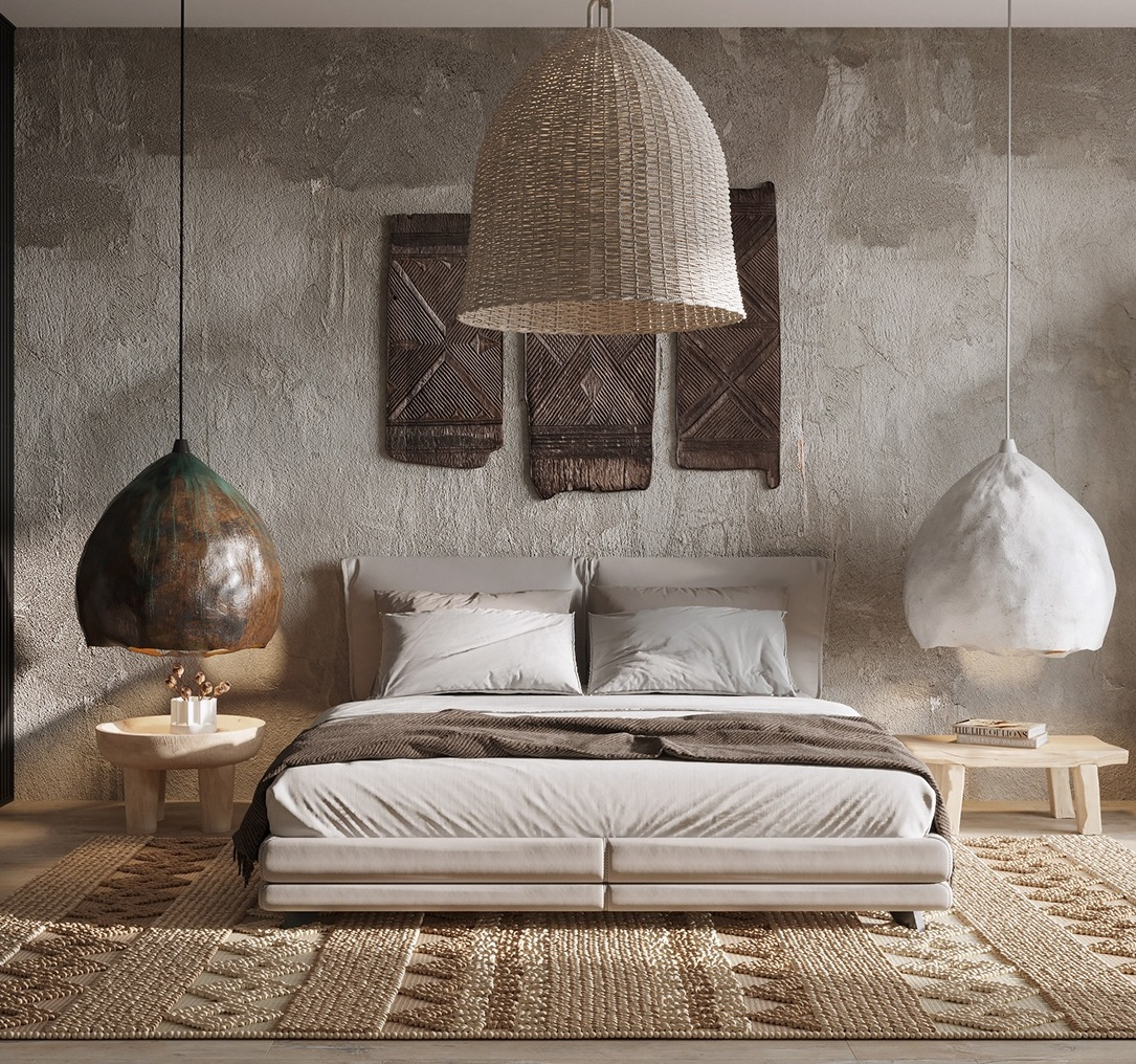 2. Unfinished wall for neutral hues used handmade cane hanging lights for wabi sabi bedroom ideas