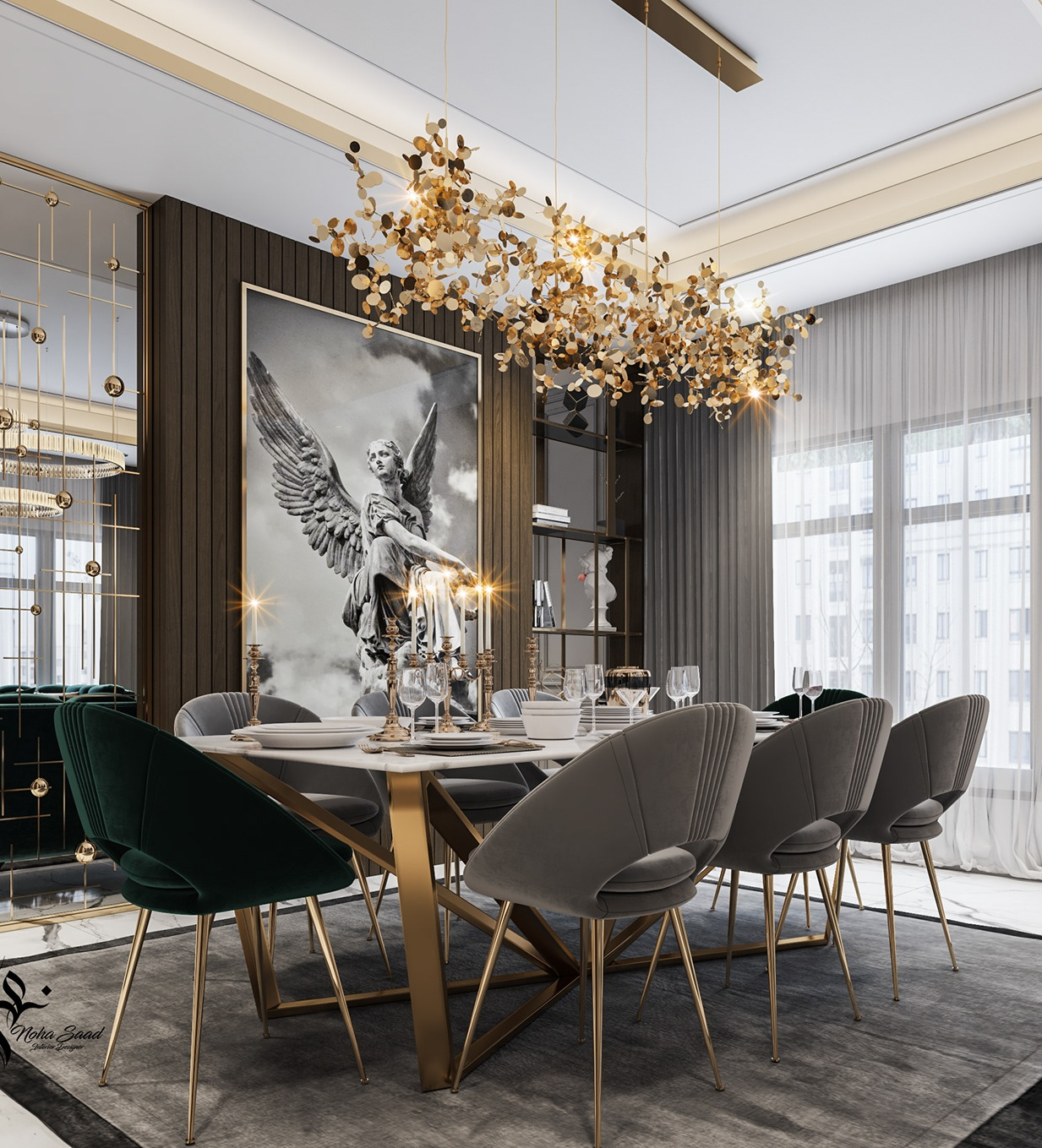 Gorgeous Grey and Gold Themed Dining Table For Living Room
