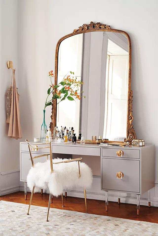 Long Rectangular Mirror and cushion stool