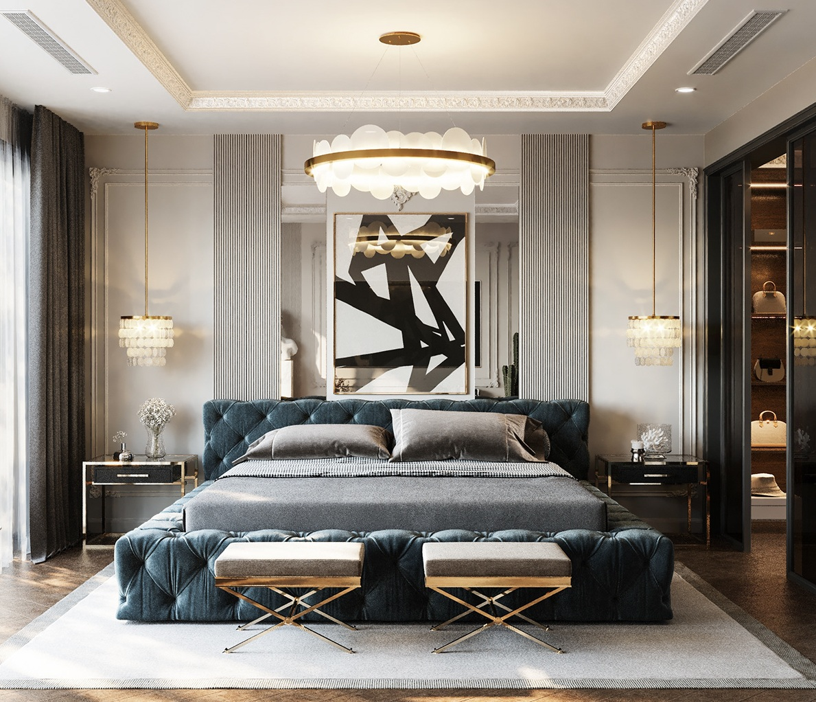 Abstract Design To Highlight Your Wall And Chandelier For Celing To Beautify Your Master Bedroom