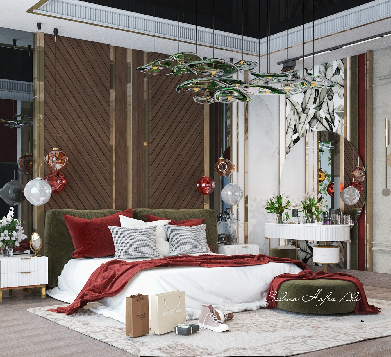 Best Color Scheme Idea with red and green color combination for Master Bedroom
