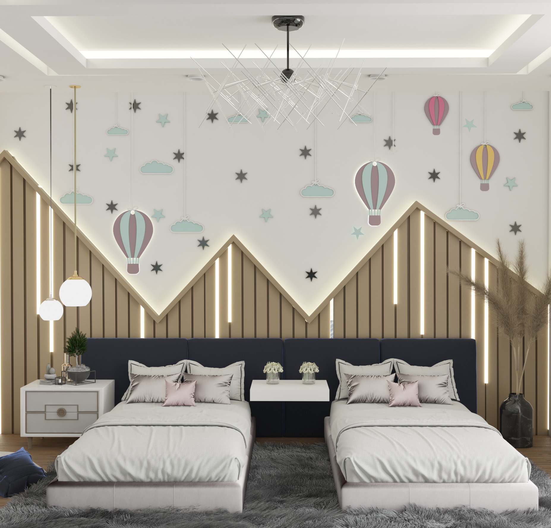 Hot Air Balloon Theme Kids Shared Bedroom With Amazing Lights