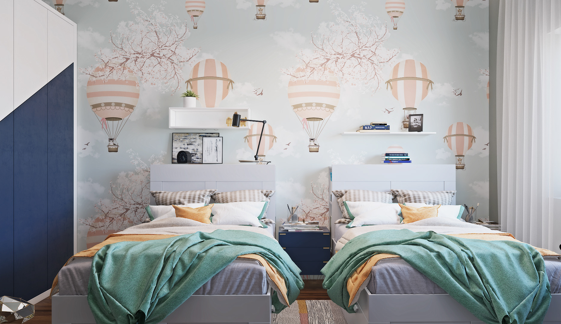 Hot Air Balloon Wallpaper with soft cushion and cool twin beds for kids