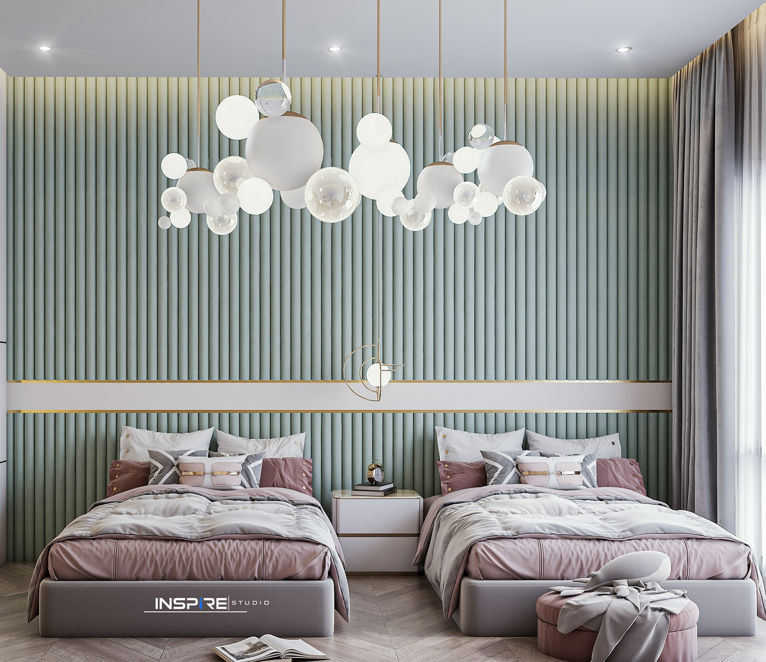 Modern Green and Gold Themed Kids Bedroom With Chandelier Lights