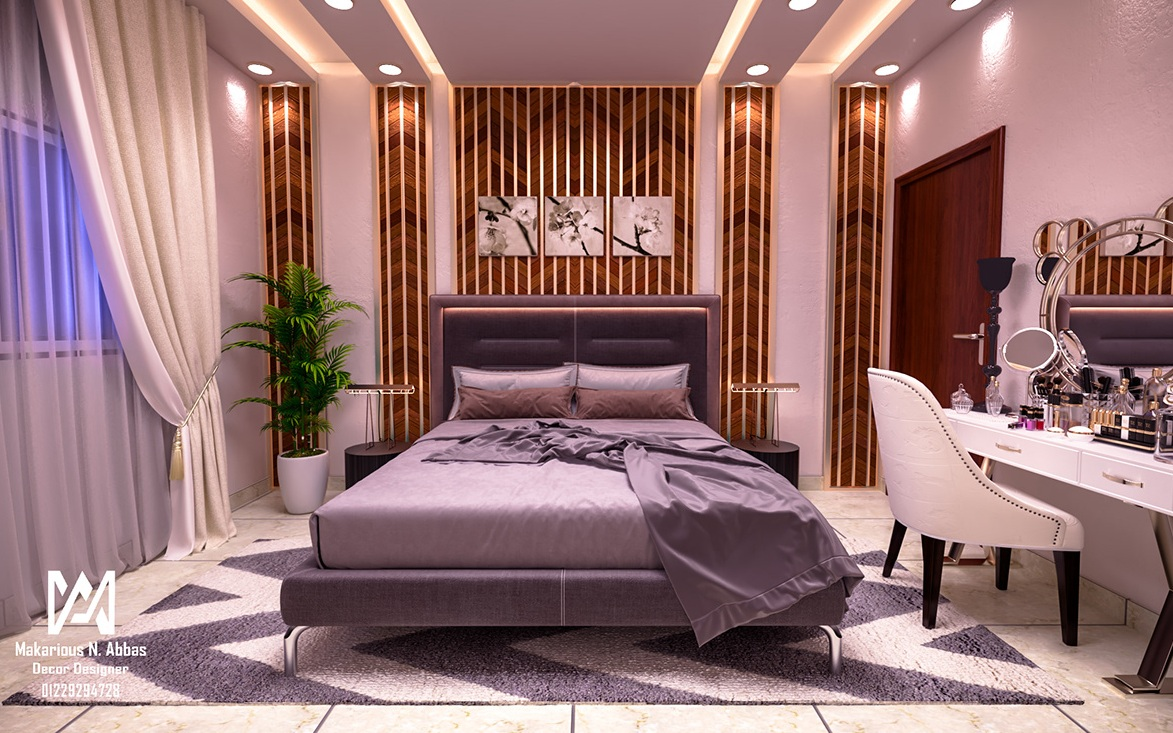 Purple Bed With Brown Interior for a lavish bedroom ideas