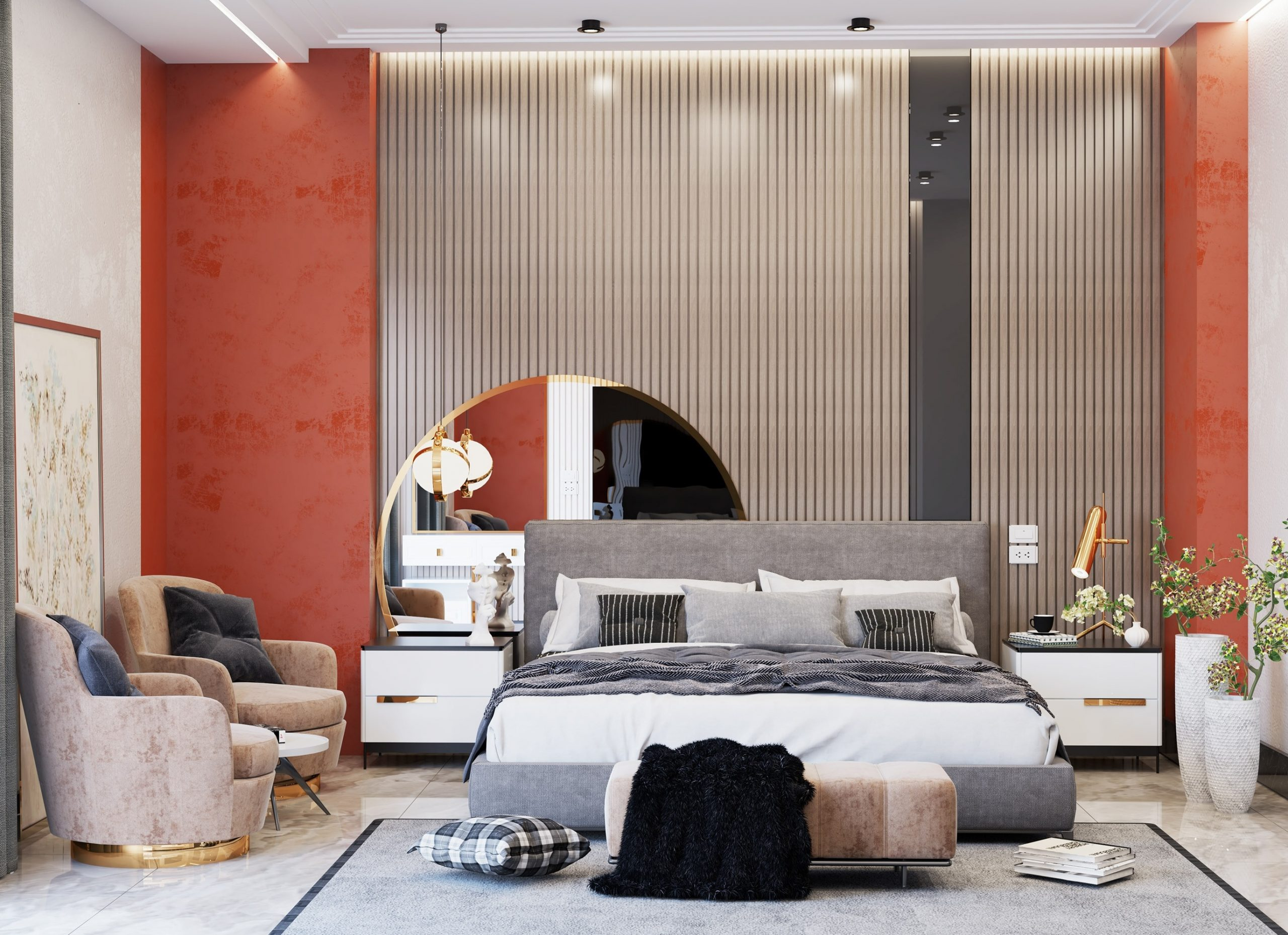 Rust Orange and Blue Combination To Add Some Color To Your Bedroom