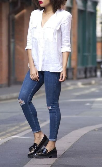 how to style tassel loafer with shirts