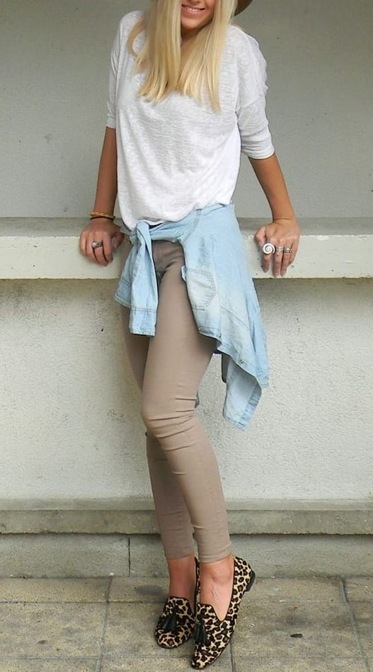 how to style tassel loafer with t shirts