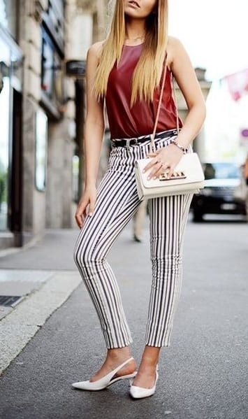 pair sling back heels with casual t shirts