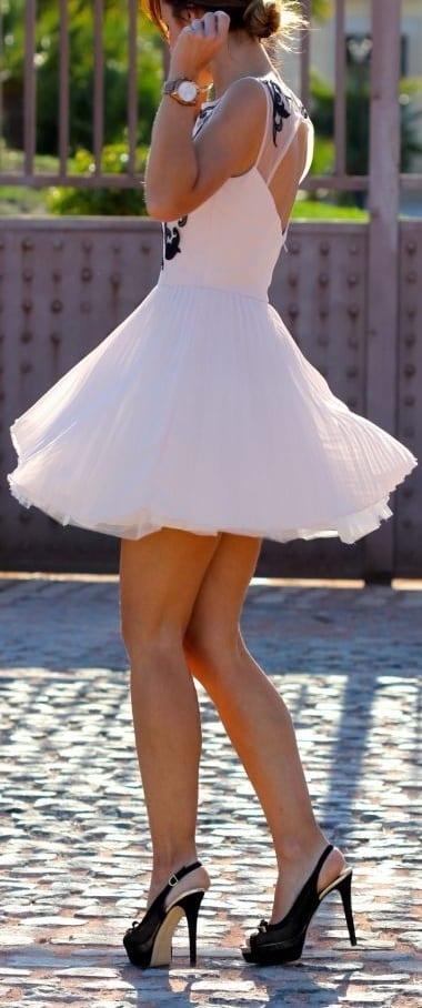 pair sling back heels with swing dress