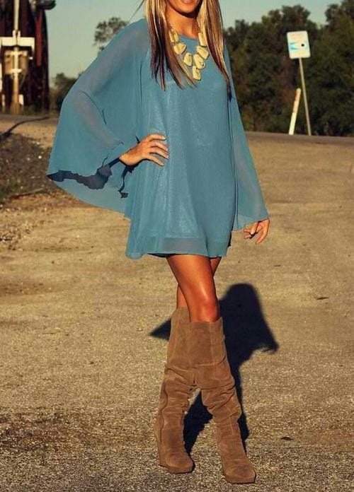 style Cowboy Boots with swing dress