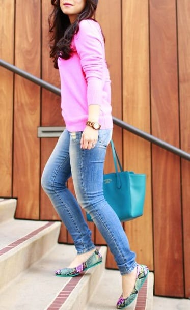 style flat ballet shoes with casual outfits