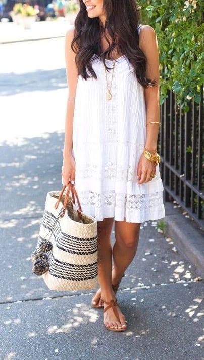 style flip flops with swing dress
