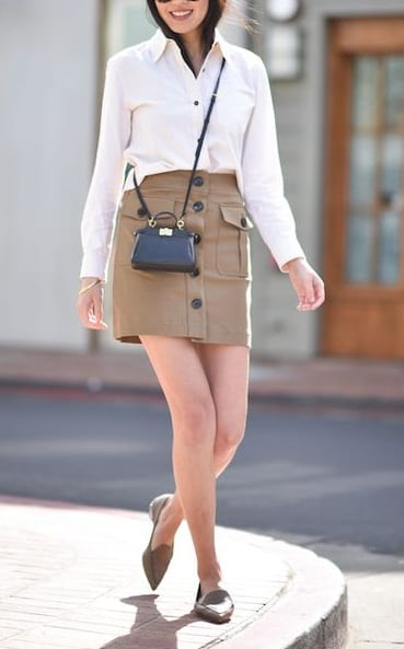 style loafers with mini skirts
