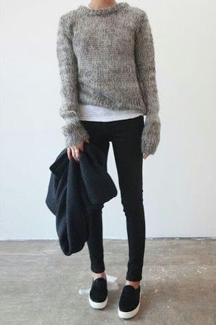 style slip on sneakers with sweatshirts
