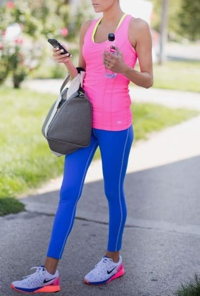 style sports shoes with workout outfit