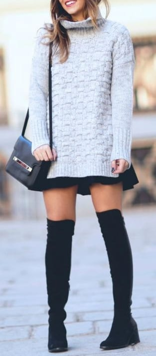 style wedge boots with mini dress