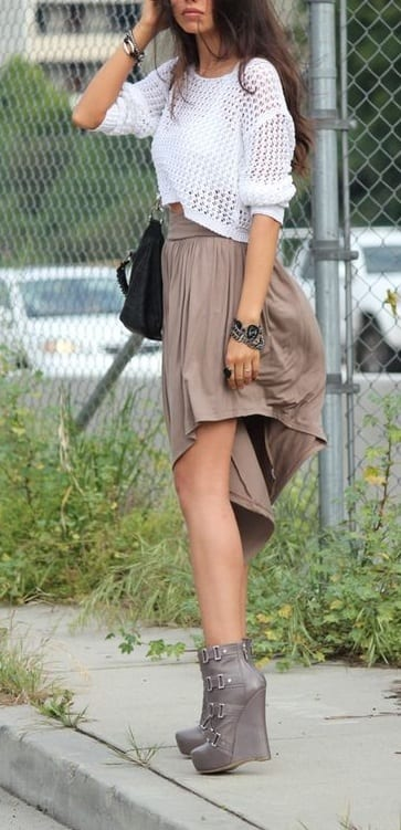 style wedge boots with skirts