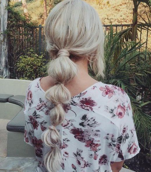 blonde bubble ponytail