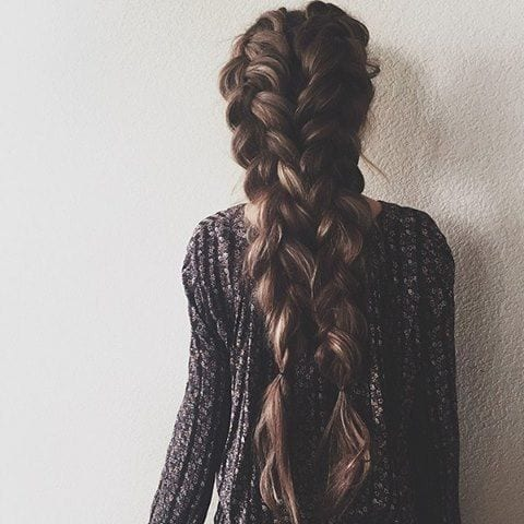 dutch braid long and thick pigtails