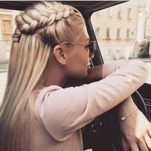 dutch braid with sunglasses