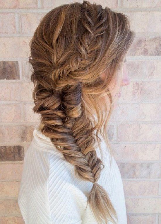 fishtail braid messy long hair