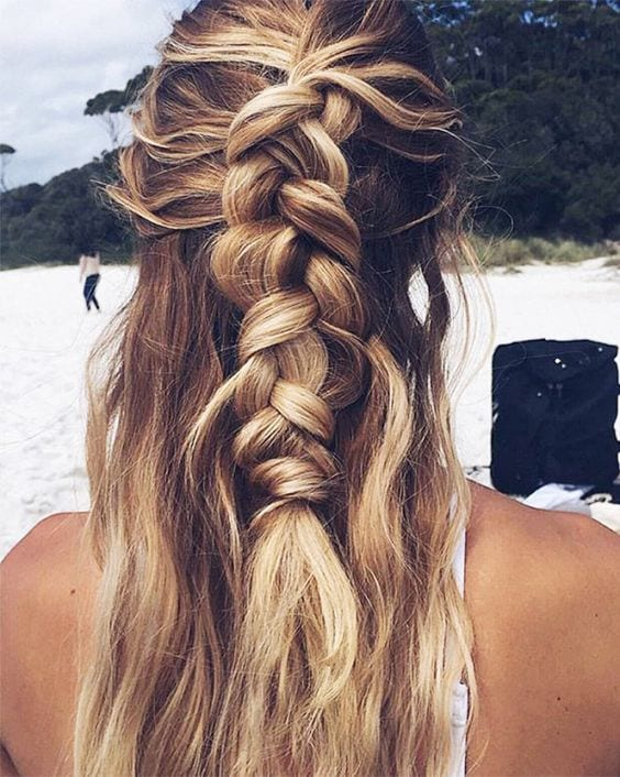 french braid for the beach look