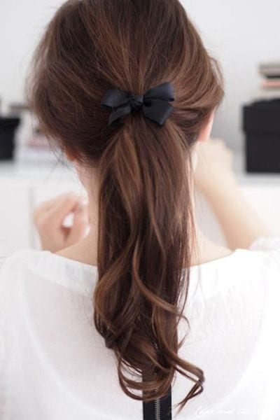 low ponytail with bow