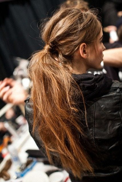 messy pony long hair