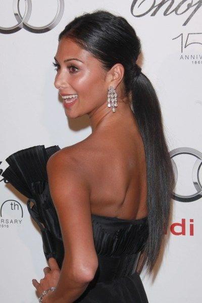 nicole's low sleek ponytail
