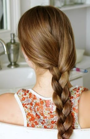 simple braid long hair brown
