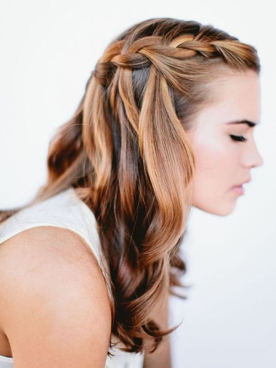 wedding waterfall braid
