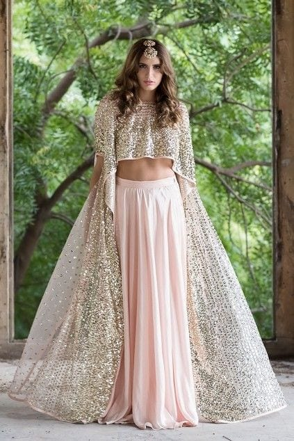 Cape style Crop top with Skirt for sangeet