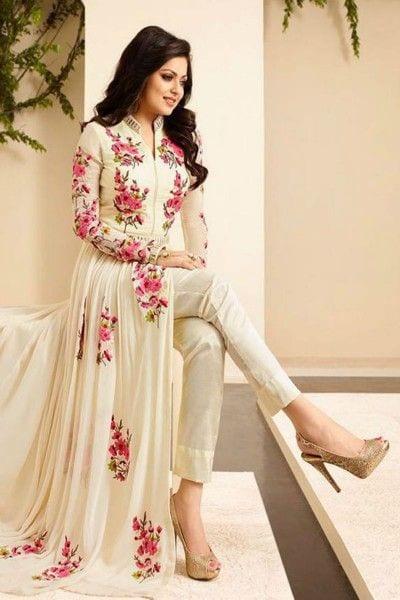Drashti Dhami White Floral Embroidered Cigarette Pant Style Anarkali