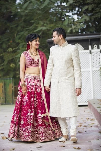 Red and White Sangeet outfit