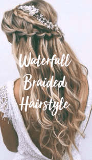 Elegant And Chic Waterfall Braids To Complete Your Wedding Look