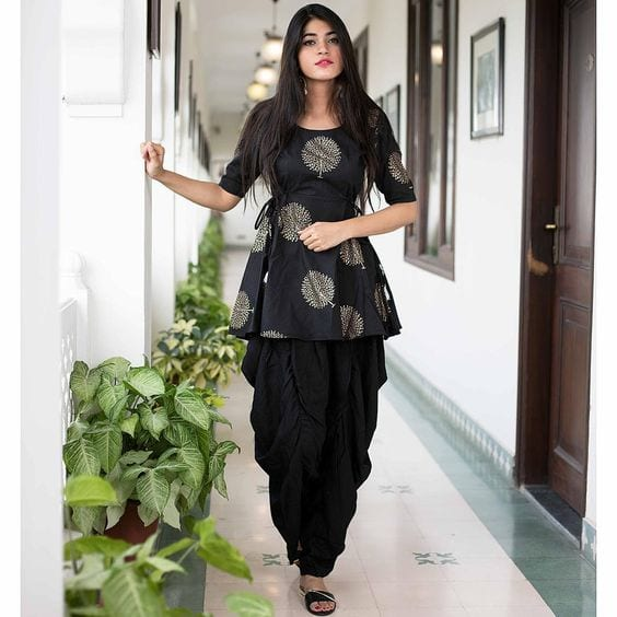 black dhoti pants with peplum tops