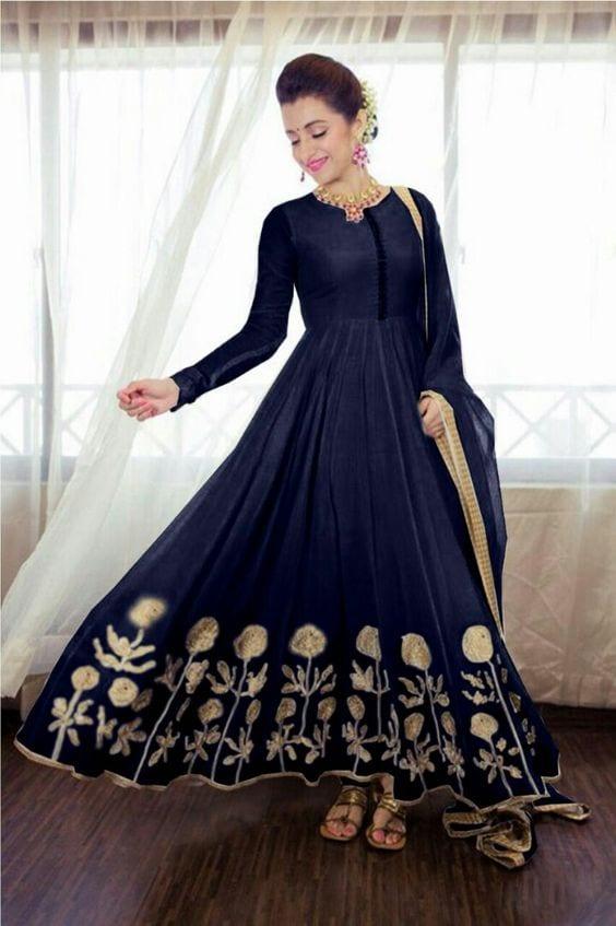 blue with gold work anarkali dress for wedding