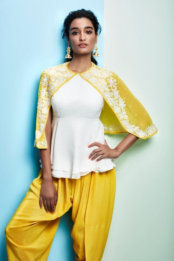 dhoti pants with cape top styles in 2018