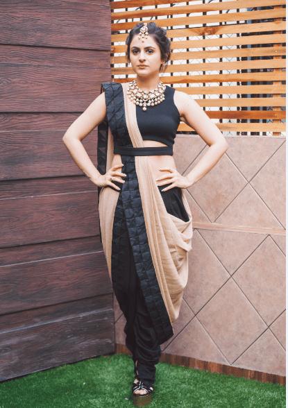 dhoti style saree black