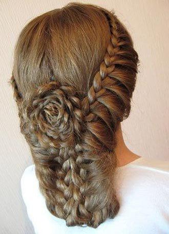 flower fishtail braid bridal style up do