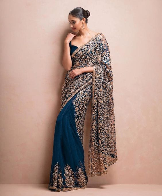 golden and blue shyamal bhumika saree