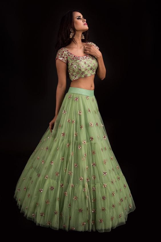 green net lehnga for mehendi