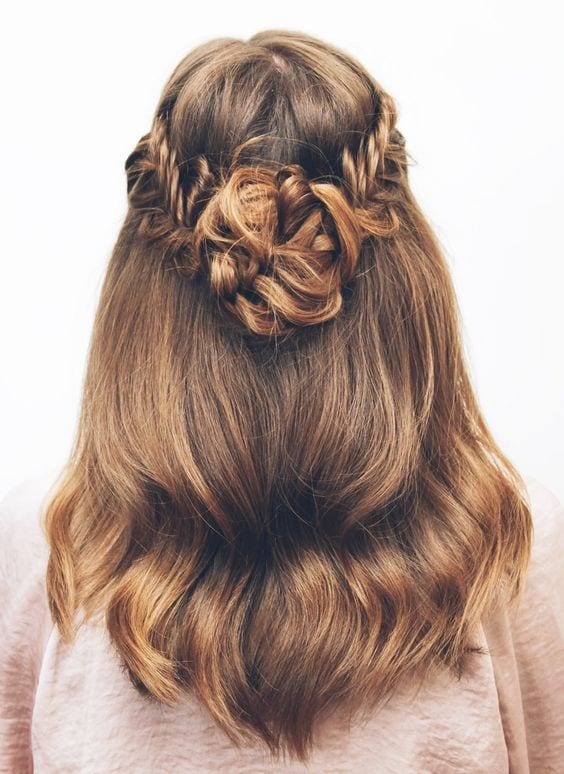 half up flower braid