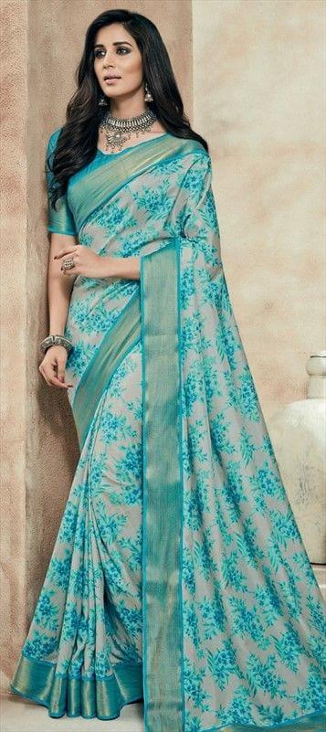 latest blue saree style