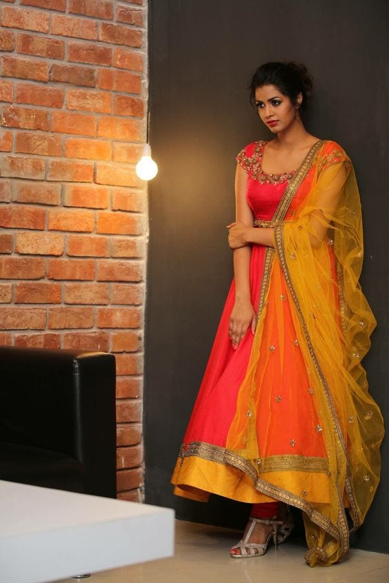 orange and yellow anarkali suit styles