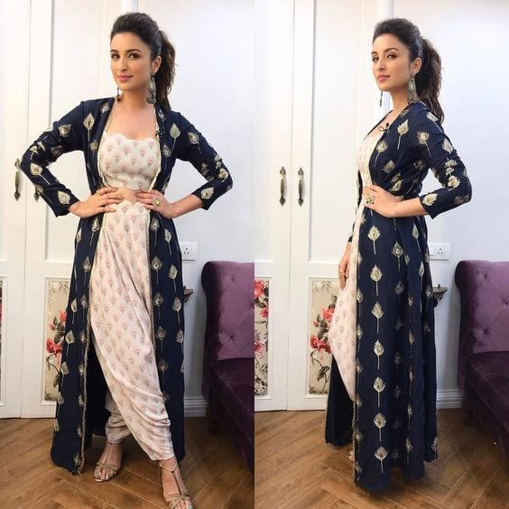 parineeti chopra dhoti pants with crop top and jacket