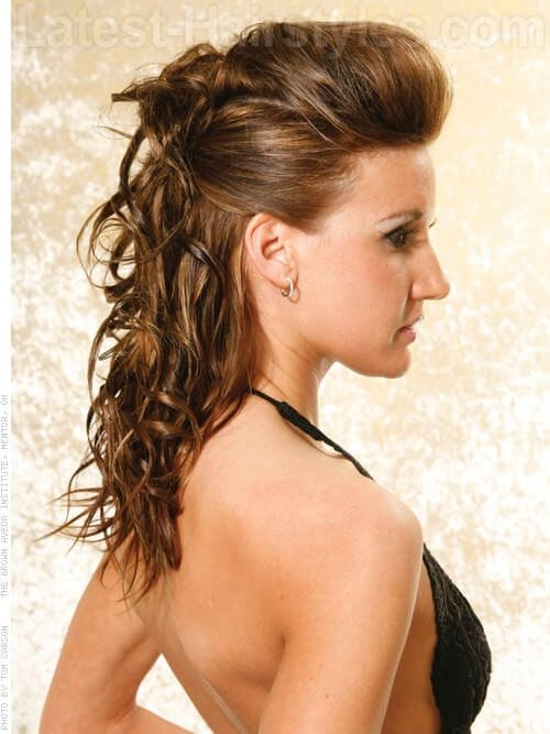 pulled back curly hair