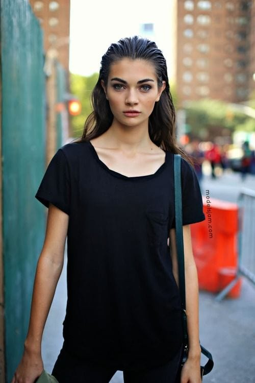 slicked back casual look
