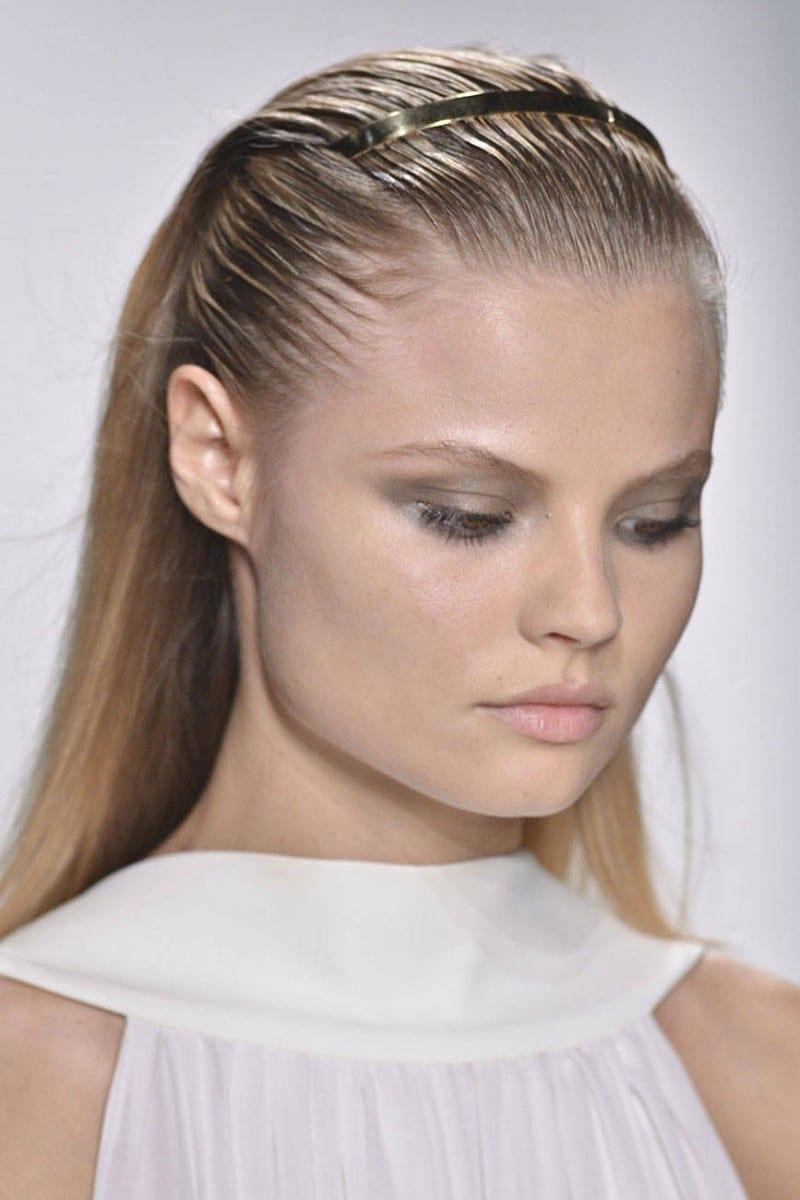 slicked back hair model look